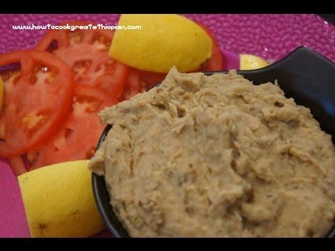 Ethiopian Food - Aubergine Eggplant & Butterbean Pate Recipe Vegan Fasting Amharic & English