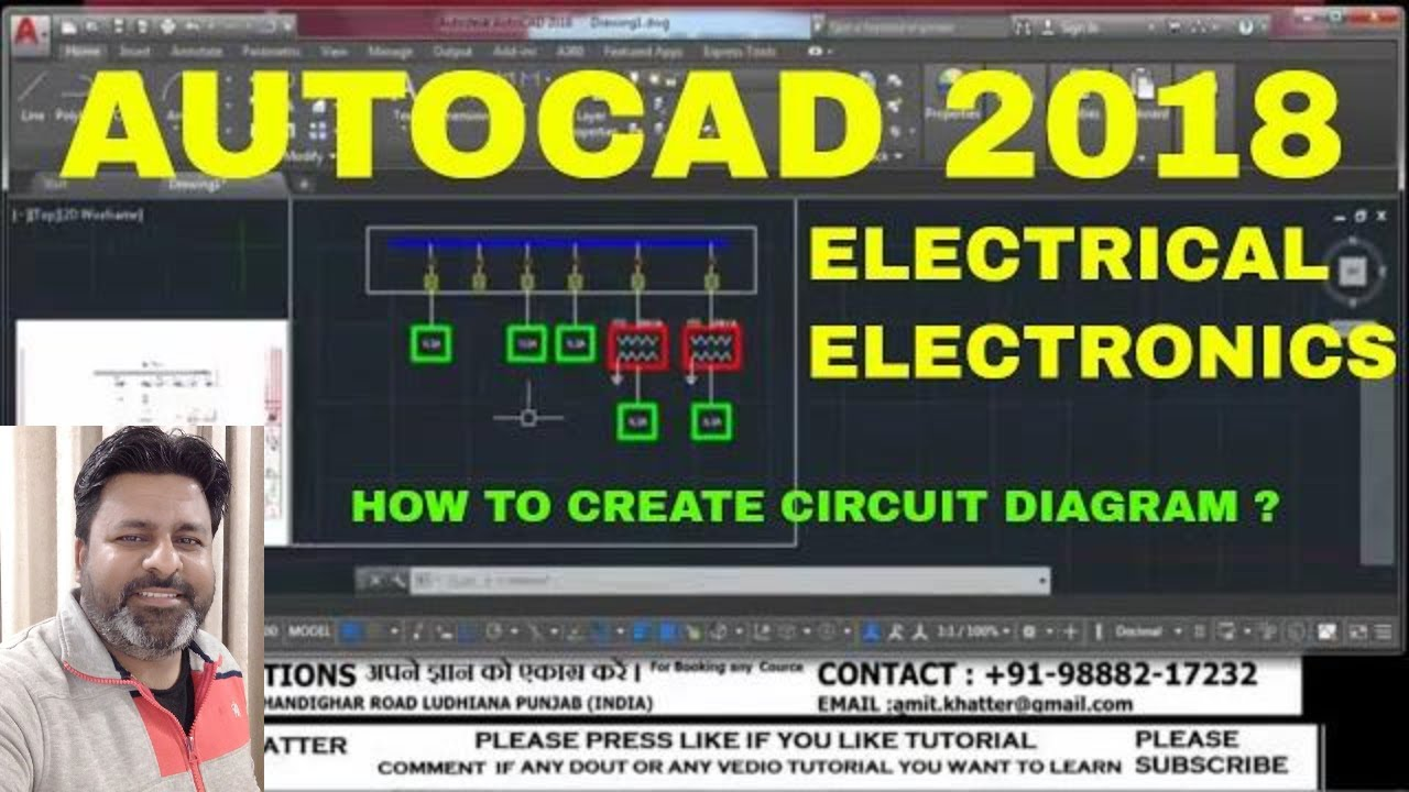 autocad 2018 electrical circuit diagram in hindi how to create electronic circuit auto cad  [ 1280 x 720 Pixel ]