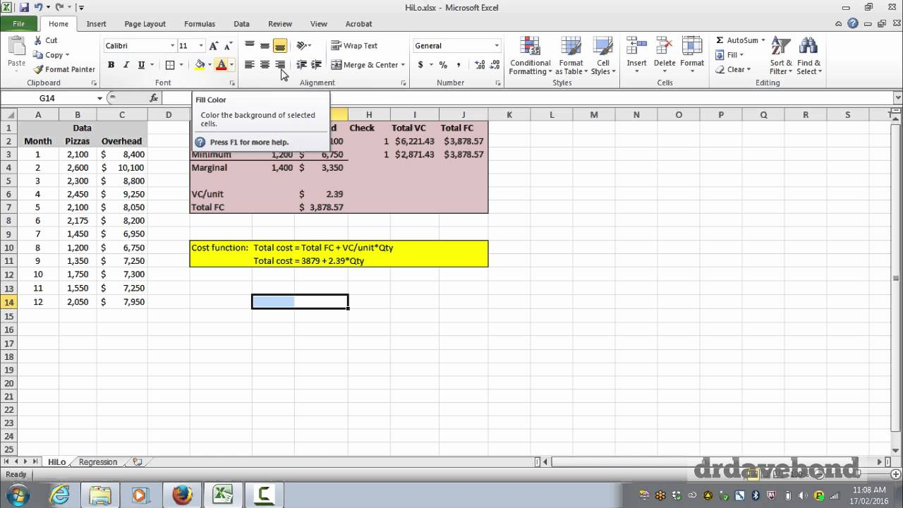 Calculating cost functions using Microsoft Excel
