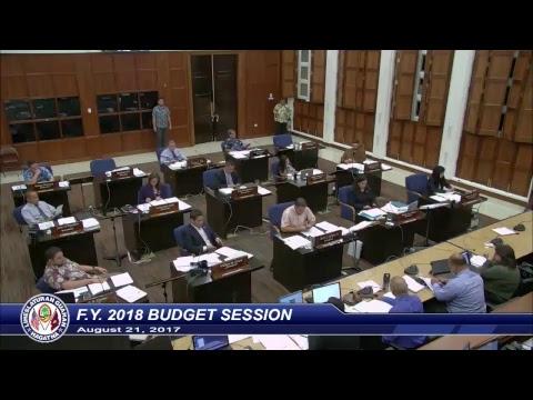 34th Guam Legislature Session - August 21 2017