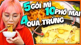 5 gói mì và 10 miếng phô mai. Ramen MisThy || FOOD CHALLENGE