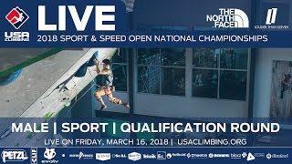 Male Qualification Round • 2018 Sport Climbing Open National Championships • 3/16/18 4:55 PM PST