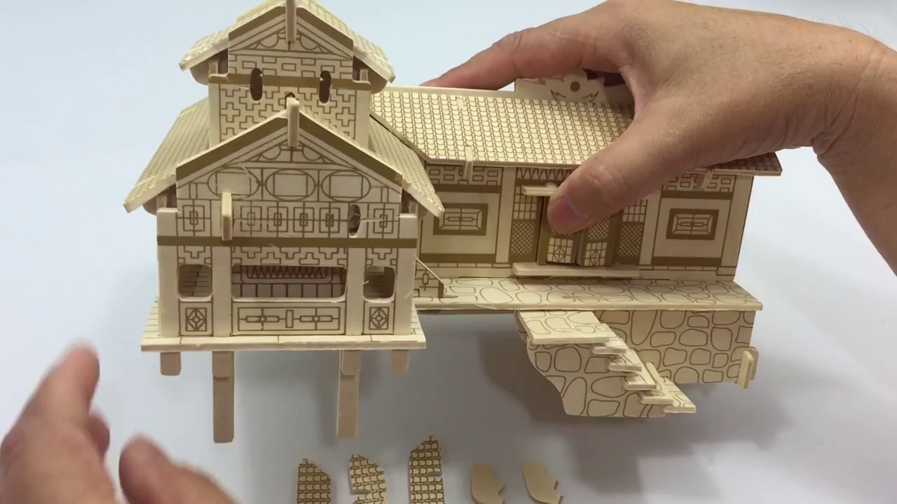 3D Wooden Puzzle DIY Assembled, How To Make A Wooden XIANGXI House On Stilts