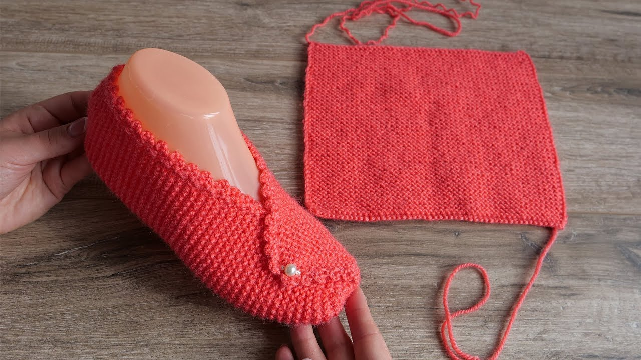 Тапочки из прямоугольников спицами | Rectangle slippers knitting pattern