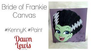 Bride of Frankie - digital stamp + paint on canvas