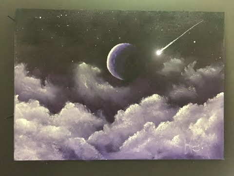 """#188. How To Paint Fluffy Night Clouds And Moon """"acrylic"""""""