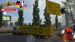 Euro Truck Simulator 2 (1.35)   GerMap v1.0 Northern Germany and Denmark Mercedes Actros MP1 Schmitz Curtain Ownable Trailer + DLC's & Mods Features: in Denmark: - small town Tønder - Primaerroute 11 from Esbjerg to border - small texture changes around E