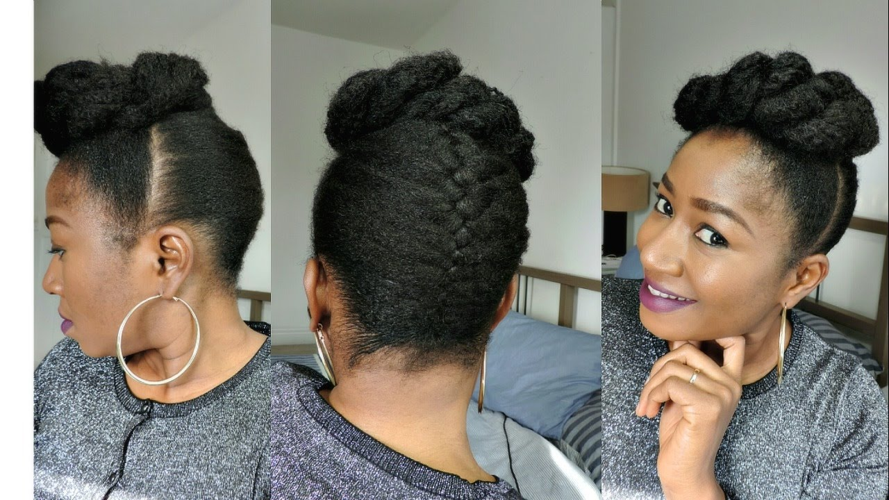 HOW TO STYLE SHORT NATURAL HAIR || FRENCH BRAID UPDO - YouTube