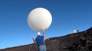 Launching a Radiosonde at Hawaii