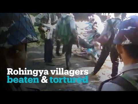 Rohingya beaten by Myanmar police