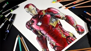 Dibujo de Iron Man - Drawing Iron Man - speed drawing comentado