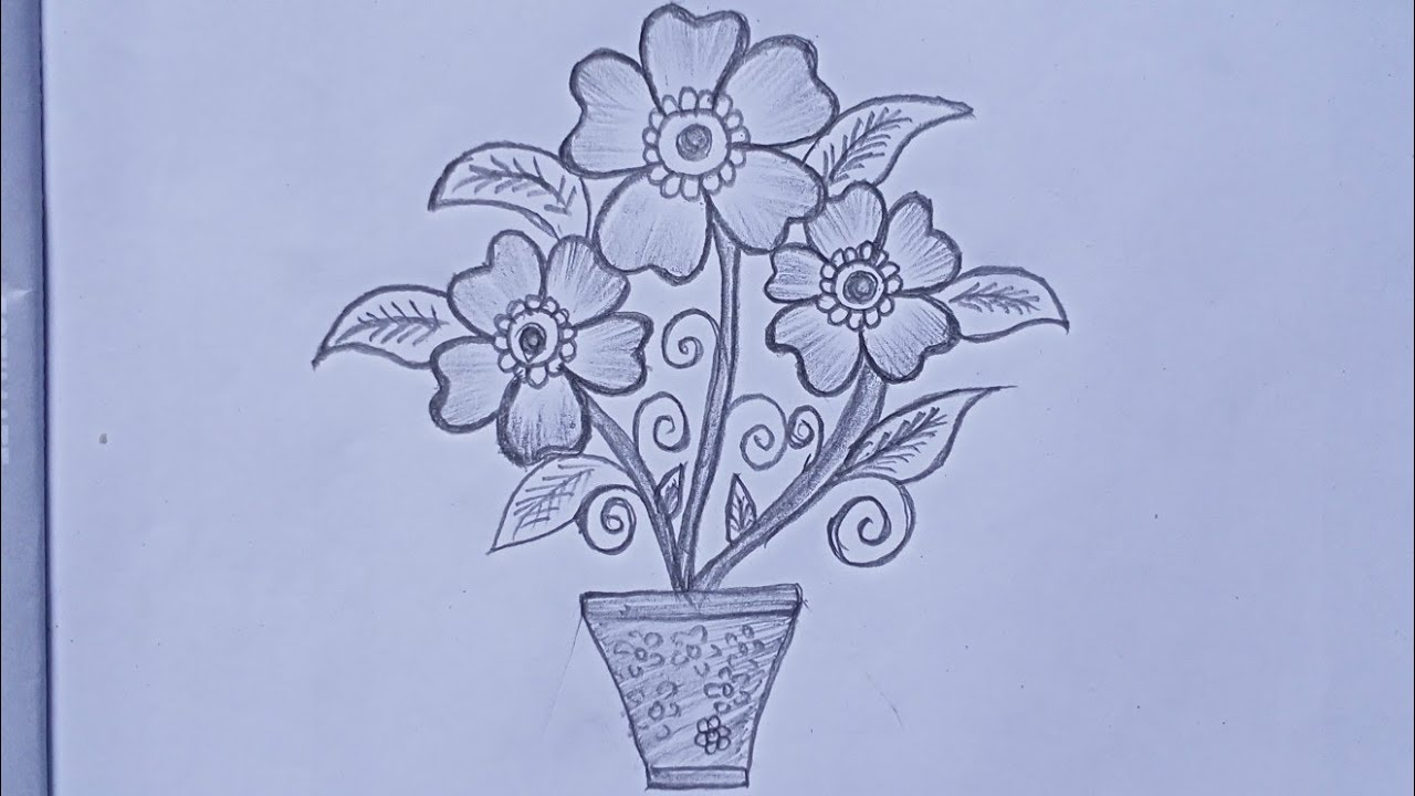 Drawingkids How To Draw A Beautiful Flowers In Pot For Kids Very Easy Flowers Drawing Youtube
