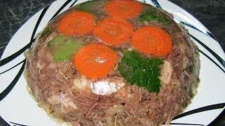 Рецепт: Холодец из мяса говядины, свинины и курятины