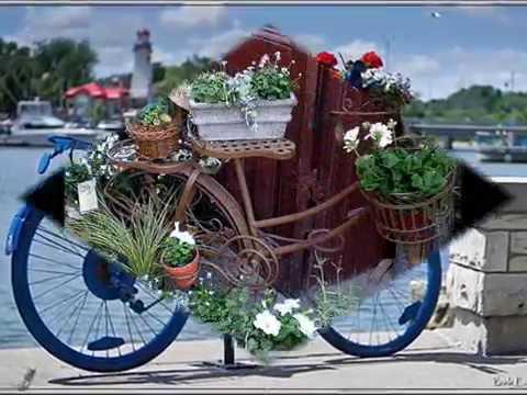 Смотреть Поделки из велосипеда клумбы. Оригинальные идеи для клумб своими руками