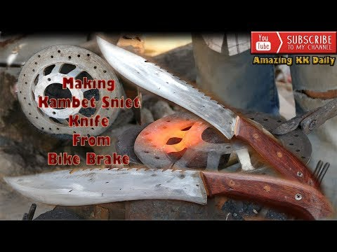 Broken Bike Brake Forged Into Useful Beautiful Knife/Full Action By Blacksmiths And Carpenter