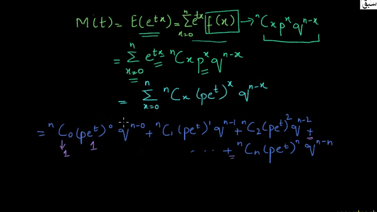 Moment Generating Function of the Binomial Distribution,  Lecture | Sabaq.pk |