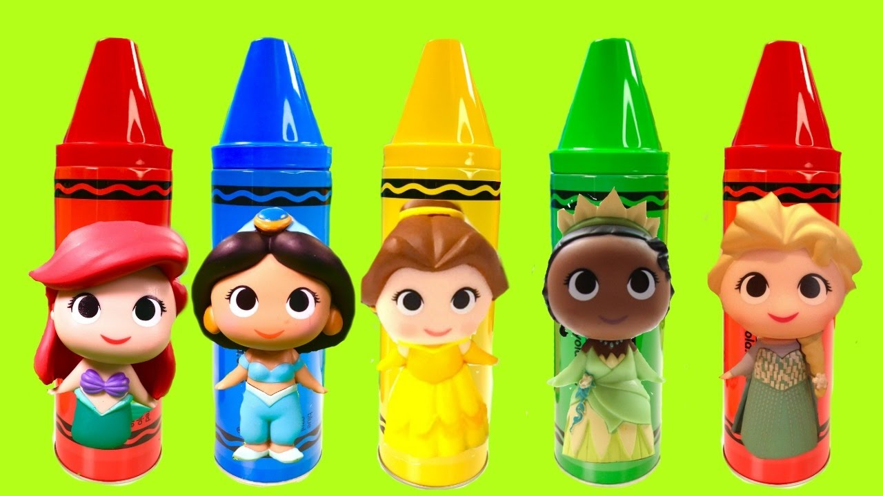 Disney Princesses Colors with Huge Crayons and Toys