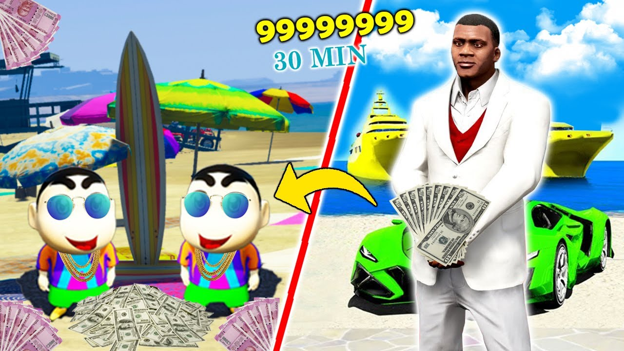GTA 5 : 🤣FRANKLIN GAVE SHINCHAN 999999999 to Spend only in 30 MINUTES! (GTA 5 mods)