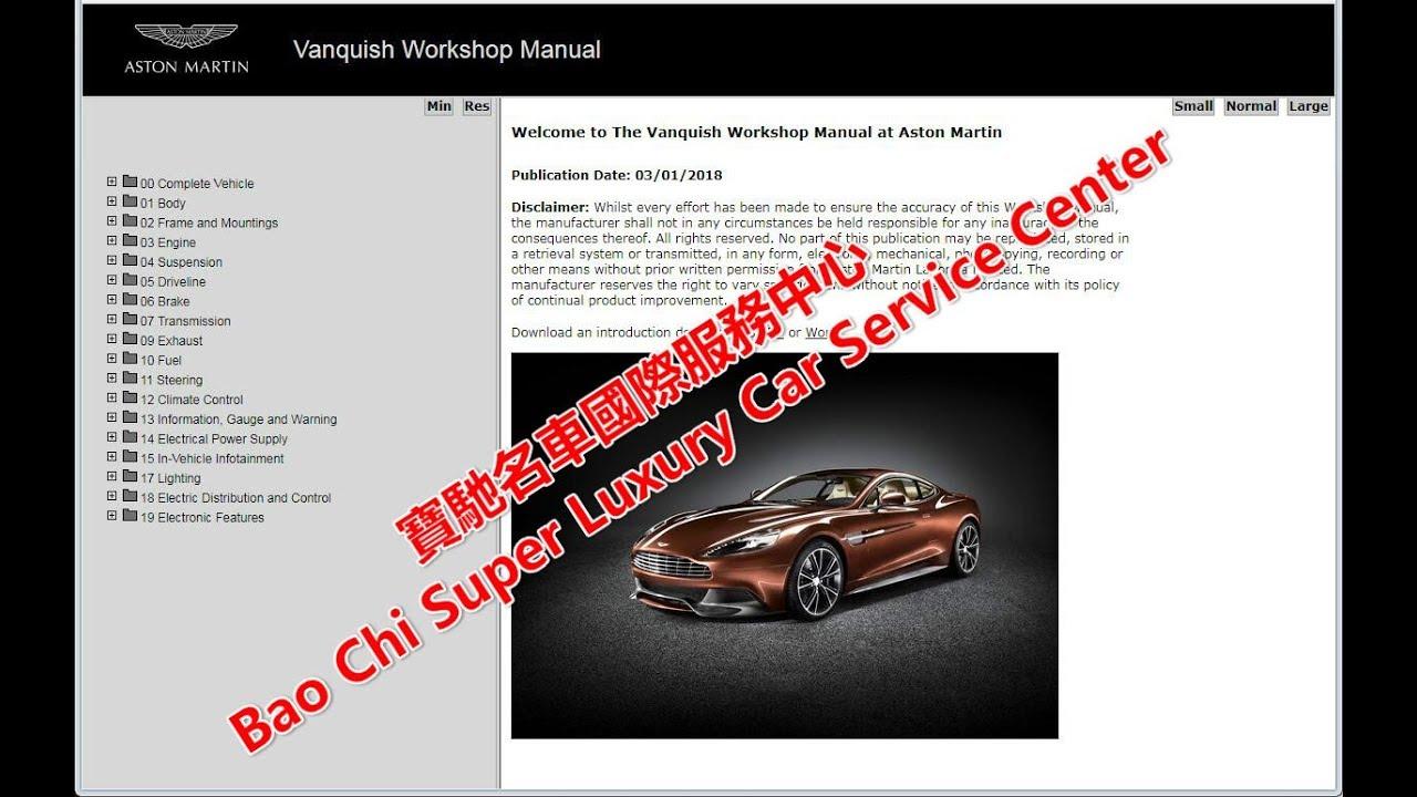 Aston Martin Vanquish Vantage Workshop Manual Repair Manual Wiring Diagram  Circuit Diagram
