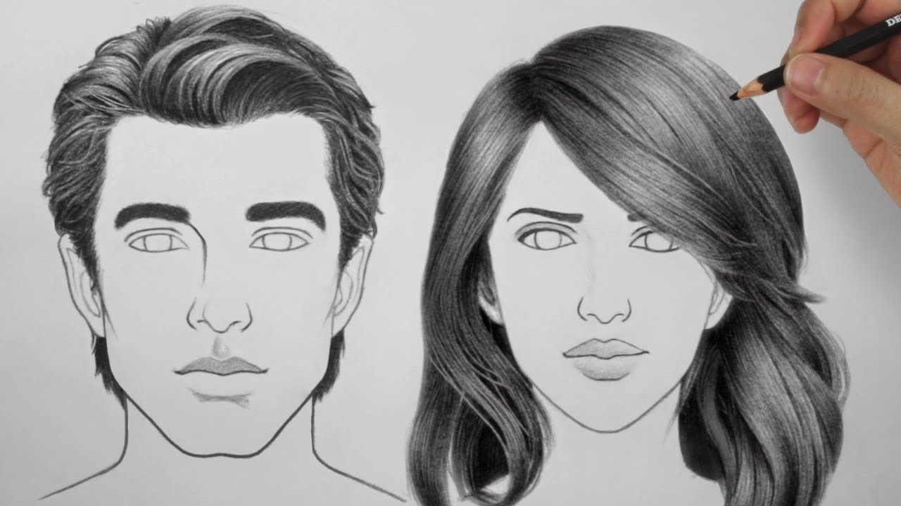 draw hair male & female
