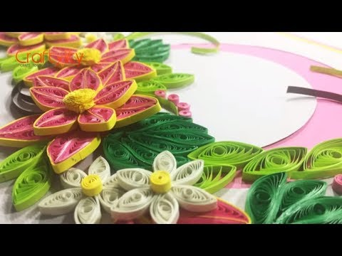 DIY Paper Quilling Flower Card | How to make Paper Quilling Flower Frame | Paper Quilling Frame