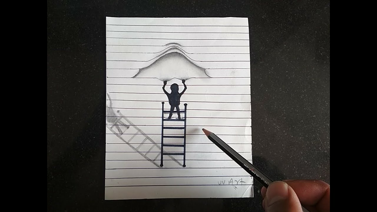 optical lined paper illusions 3d draw step drawing drawn tricks diy
