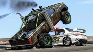 Crazy Police Chases #6 - BeamNG Drive Crashes