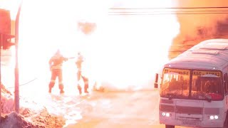 Пожар и взрыв машины с газовым баллоном - Челябинск