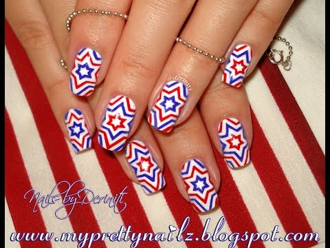 4th of July Independence Day Firecracker Stars Red White Blue Starburst Nail Art Tutorial
