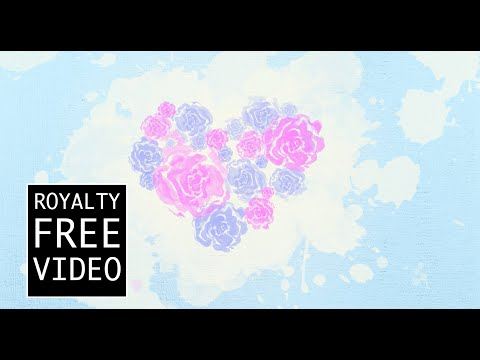 Watercolour heart of roses - Royalty Free Video