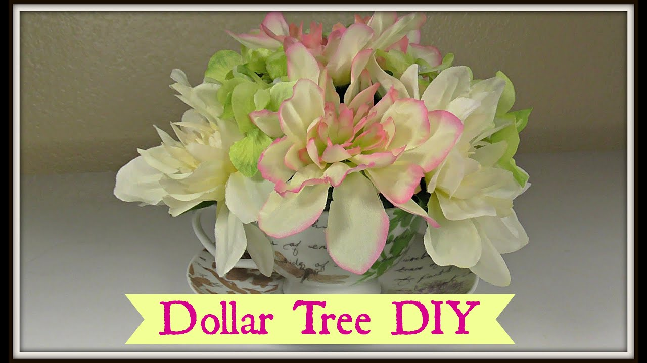 Dollar Tree Tea Cup Floral Arrangement! |Shabby Chic - YouTube