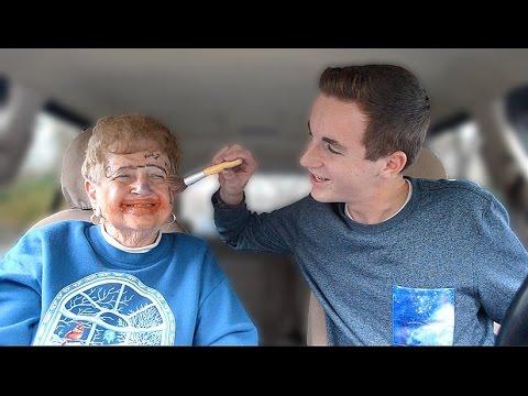 grandson does grandma s makeup youtube