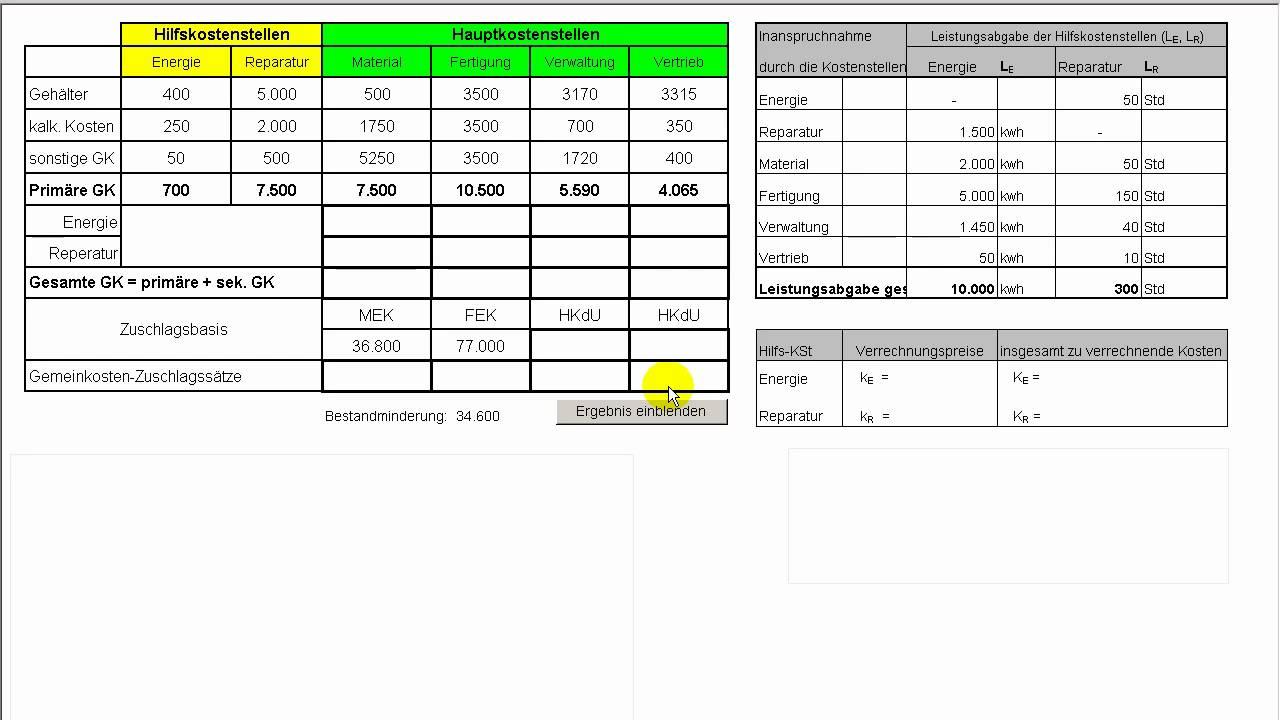 teil iii kostenrechnung zuschlagskalkulation bab innerbetriebliche leistungsverrechnung - Kostenrechnung Beispiele
