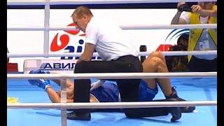 Два нокдауна и зверский нокаут. Казахстанский супертяж заставил соперника взвыть от боли на ЧМ-2019