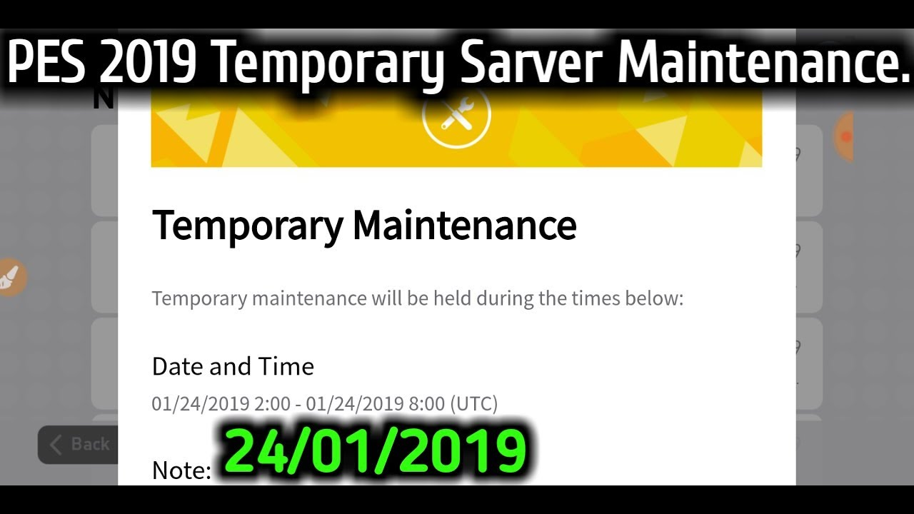 PES 2019 Temporary Server Maintenance on 24/01/2019 And All Event Match  Update Notice