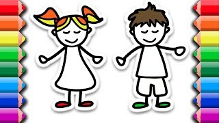 Drawing and Coloring a cute boy and girl couple, best friends | Awesome coloring pages for kids