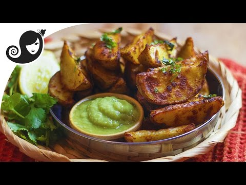 Oven Baked Crispy Potato Wedges with Tandoori Masala Rub   Vegan/Vegetarian Recipe
