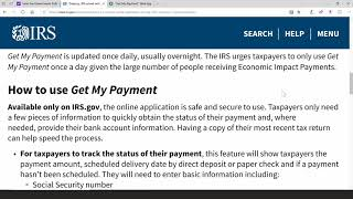 #stimulus #stimuluscheck #getmypayment #irs, april 15, 2020, get my payment is updated once daily, usually overnight. the irs urges taxpayers to only use a day given large ...