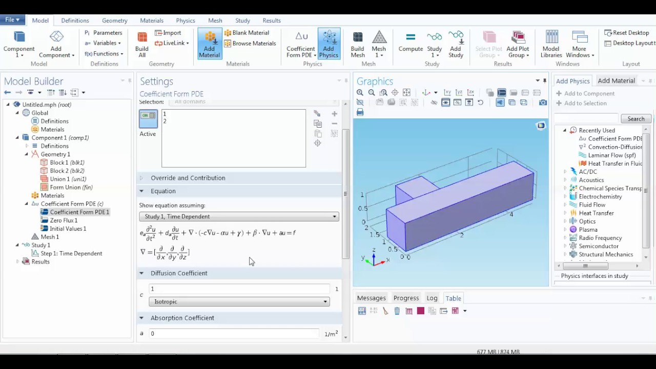 COMSOL: Time Dependent 3D partial differential equation solver ...