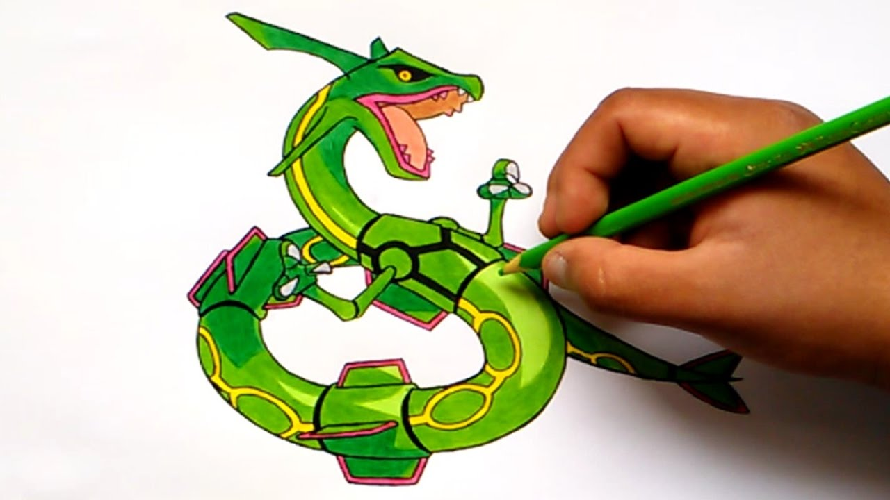 Cómo dibujar a Rayquaza - How to draw Rayquaza (Pokemon) - YouTube