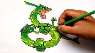 Cómo dibujar a Rayquaza - How to draw Rayquaza (Pokemon)