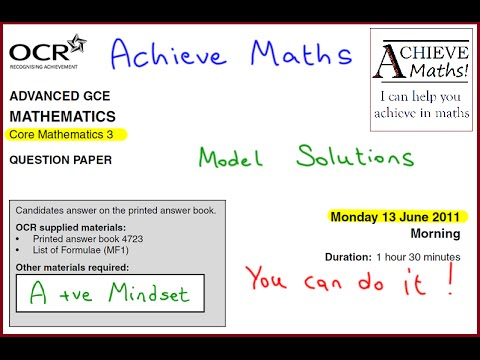 A-level Maths OCR June 2011 Core Mathematics 3 C3 (complete paper)