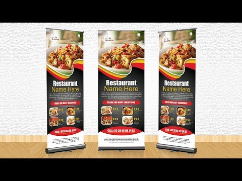 how to make professional Restaurant Rollup Banner | Photoshop Tutorials