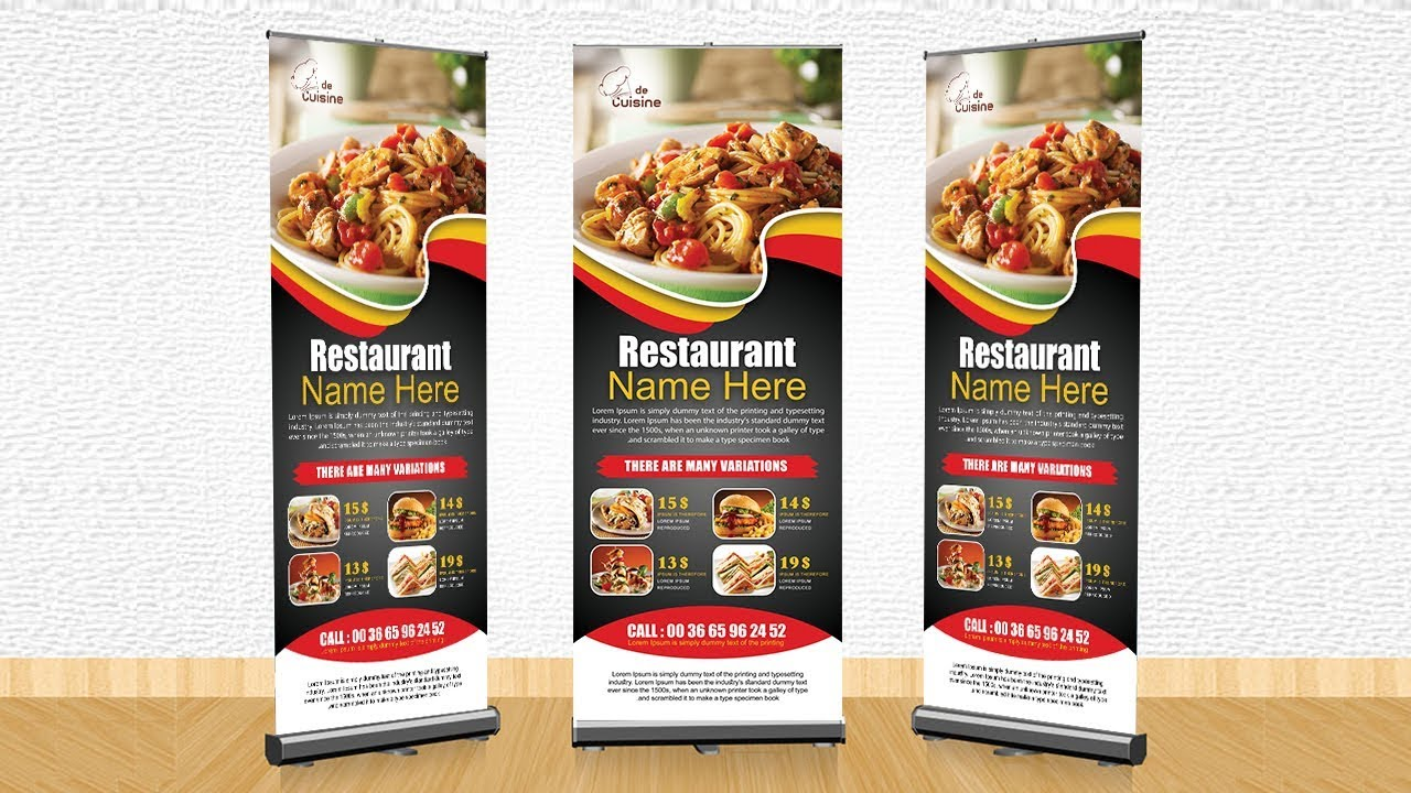 how to make professional restaurant rollup banner photoshop