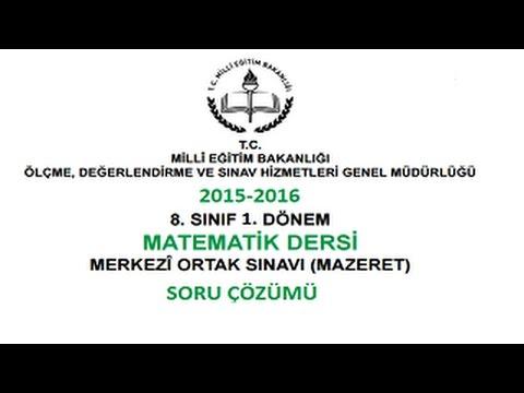 2015-2016 YILI 1.DÖNEM TEOG MAZERET MATEMATİK SORU ÇÖZÜMÜ