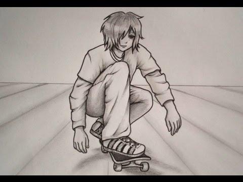 Como Dibujar Un Chico Manga En Skate Youtube