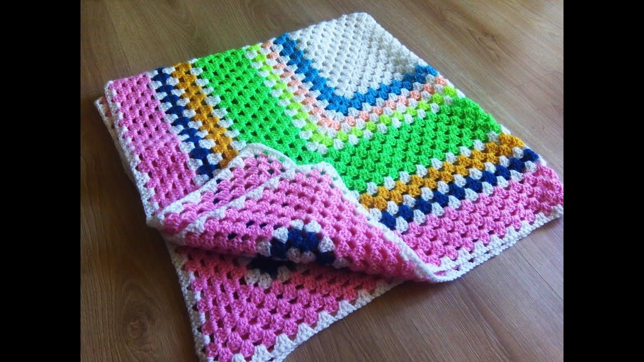 Crochet Granny Square Baby Blanket Youtube