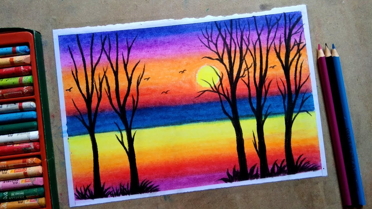 Tree With Sunset Oil Pastel Colour Step By Painting