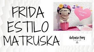 """Frida Khalo """"estilo matrioska"""" COMPLETA #tejida #amigurumi #crochet"""