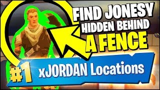 FIND JONESY HIDDEN BEHIND A FENCE & COLLECT A BASKETBALL, COIN, SHOE (Fortnite Downtown Challenges)